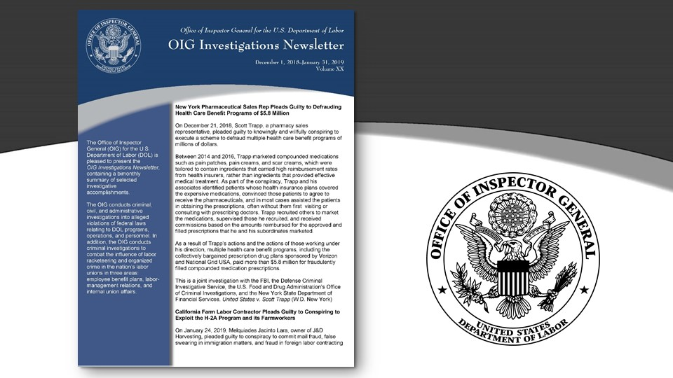 Cover of Oig Investigation Newsletter Volume 19
