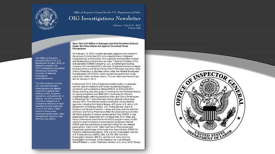 Cover of Oig Investigation Newsletter Volume 20