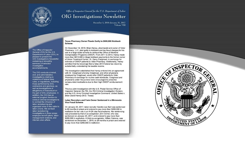 Cover of Oig Investigation Newsletter Volume 8