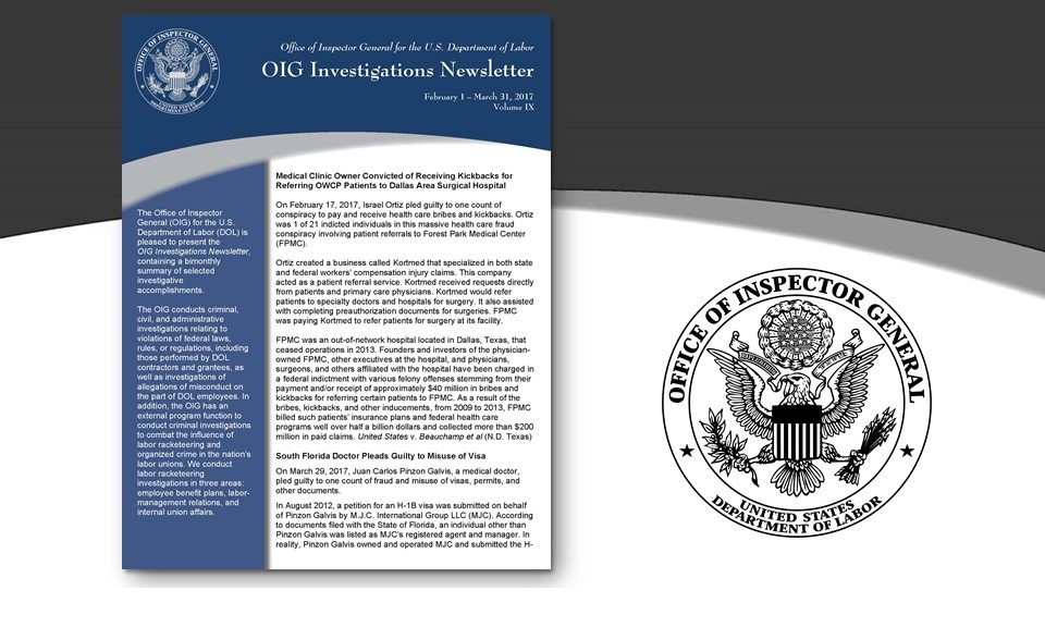 Cover of Oig Investigation Newsletter Volume 9
